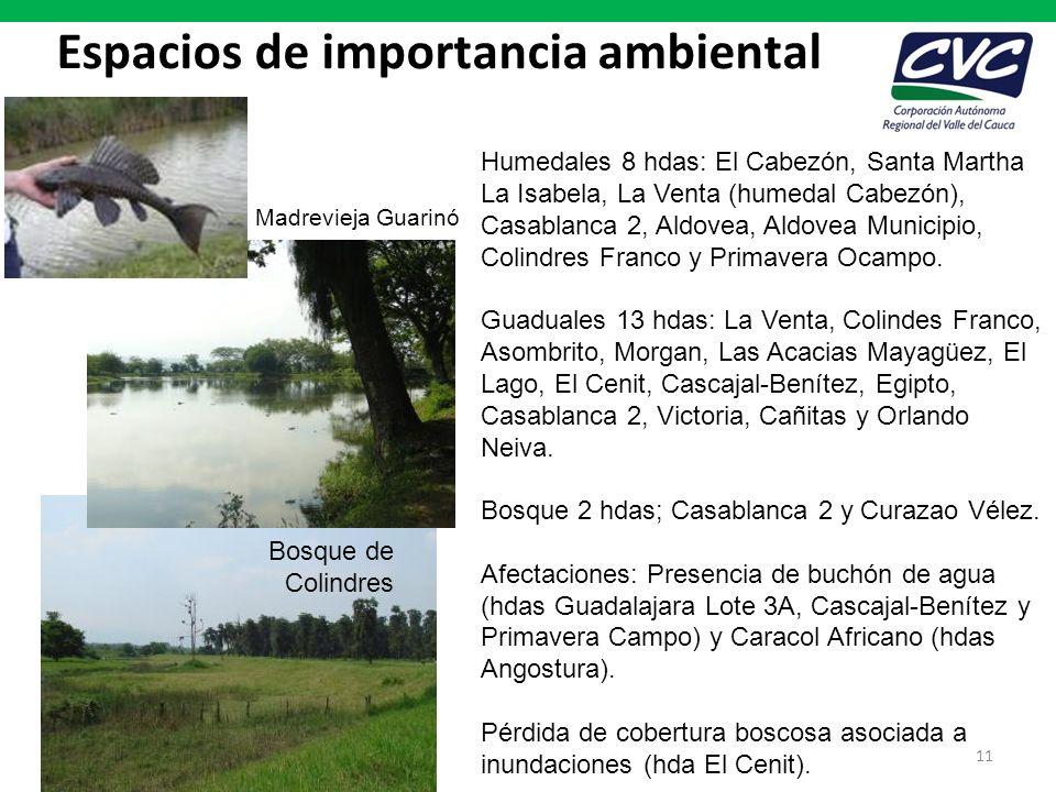 Espacios de importancia ambiental 11 Humedales 8 hdas: El Cabezón, Santa Martha La Isabela, La Venta (humedal Cabezón), Casablanca 2, Aldovea, Aldovea