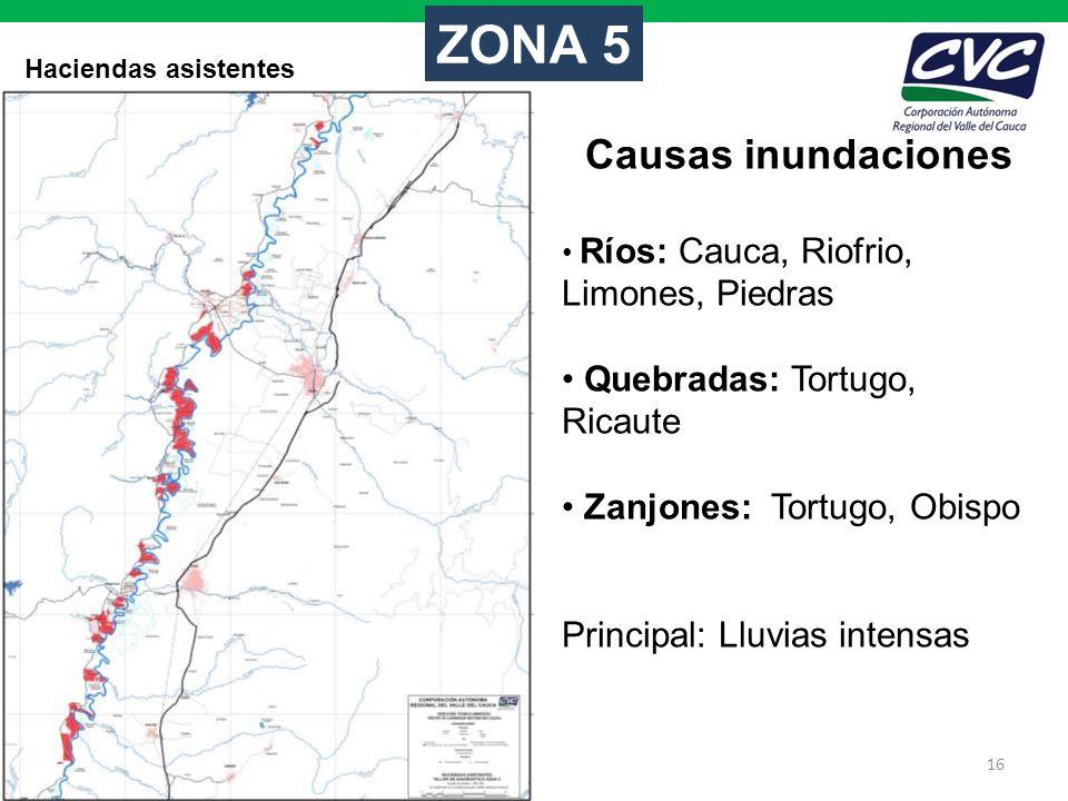 16 Haciendas asistentes ZONA 5 Causas inundaciones Ríos: Cauca, Riofrio, Limones, Piedras Quebradas: Tortugo, Ricaute Zanjones: Tortugo, Obispo Princi