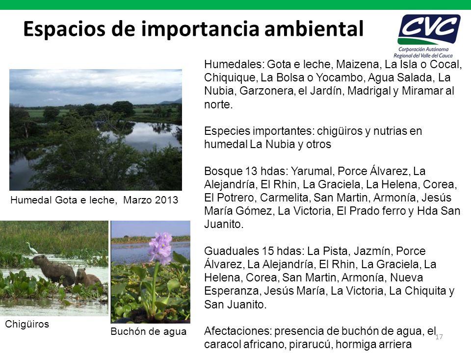 Espacios de importancia ambiental 17 Humedales: Gota e leche, Maizena, La Isla o Cocal, Chiquique, La Bolsa o Yocambo, Agua Salada, La Nubia, Garzoner