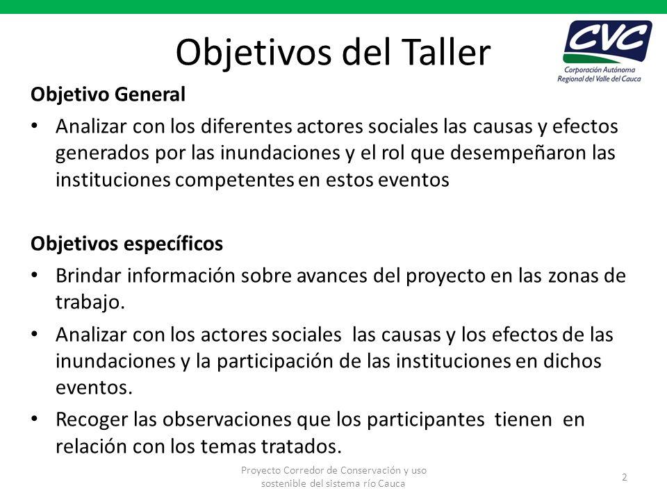 Objetivos del Taller Objetivo General Analizar con los diferentes actores sociales las causas y efectos generados por las inundaciones y el rol que de
