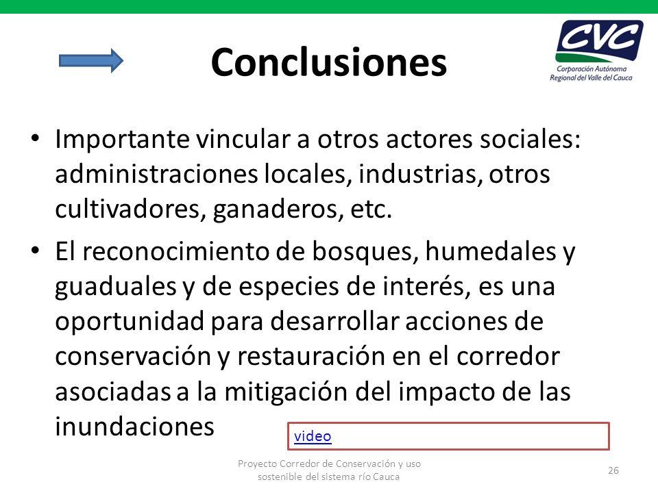 Conclusiones Importante vincular a otros actores sociales: administraciones locales, industrias, otros cultivadores, ganaderos, etc. El reconocimiento