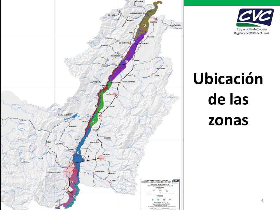 Ubicación de las zonas Proyecto Corredor de Conservación y uso sostenible del sistema río Cauca 4
