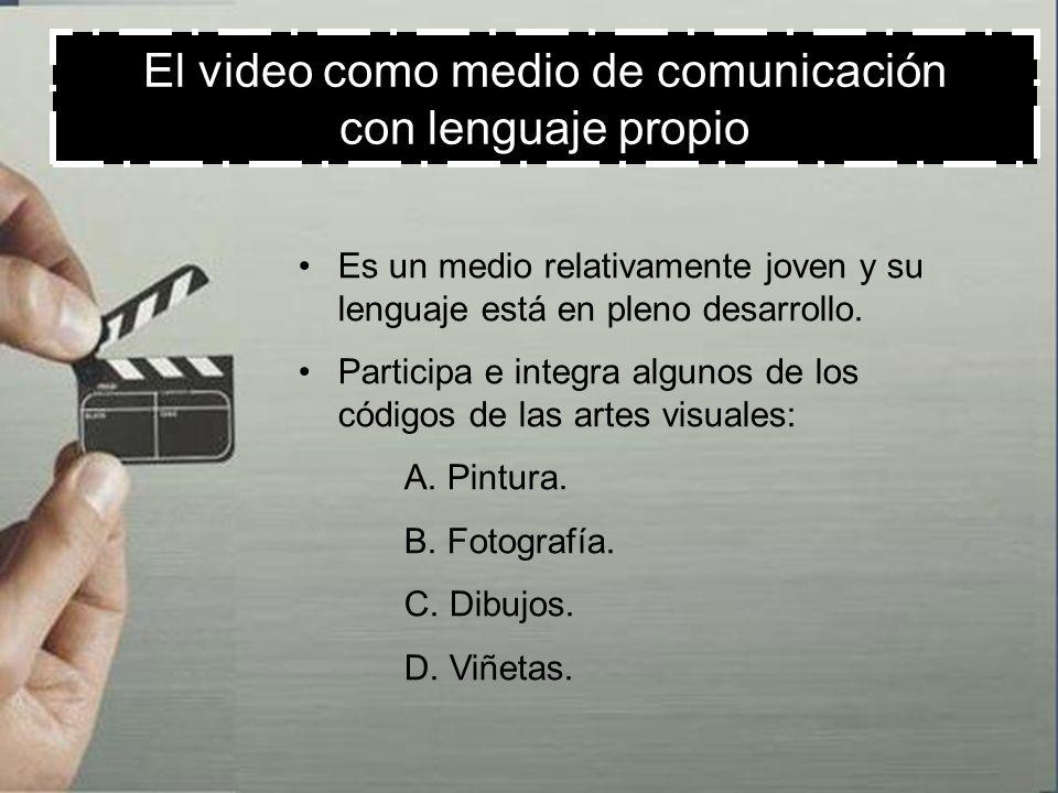 El video como medio de comunicación con lenguaje propio Participa e integra algunos de los códigos de las artes sonoras : A.