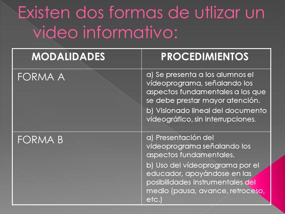 Existen dos formas de utlizar un video informativo: MODALIDADES PROCEDIMIENTOS FORMA A a) Se presenta a los alumnos el vídeoprograma, señalando los as