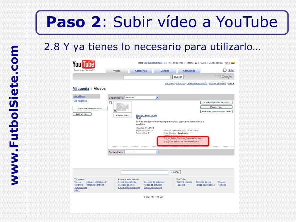 2.8 Y ya tienes lo necesario para utilizarlo… Paso 2: Subir vídeo a YouTube www.FutbolSiete.com
