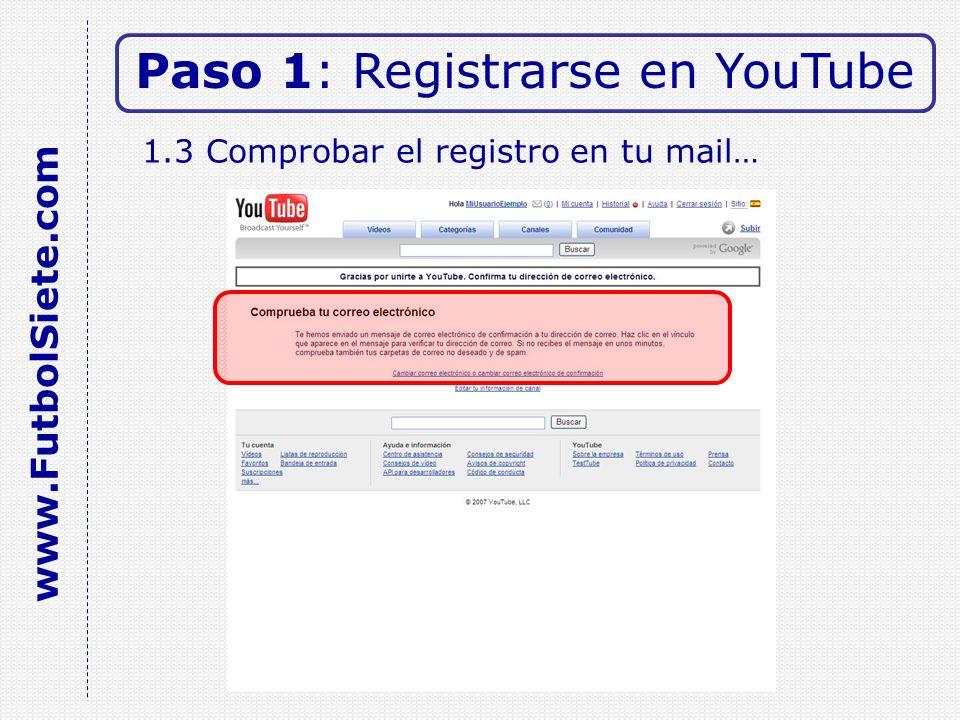 1.3 Comprobar el registro en tu mail… Paso 1: Registrarse en YouTube www.FutbolSiete.com