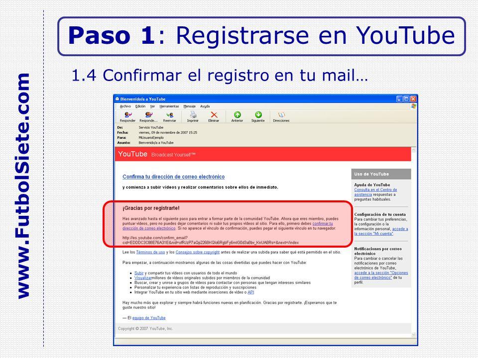 1.4 Confirmar el registro en tu mail… Paso 1: Registrarse en YouTube www.FutbolSiete.com