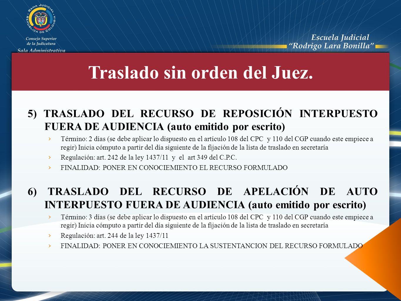 5) TRASLADO DEL RECURSO DE REPOSICIÓN INTERPUESTO FUERA DE AUDIENCIA (auto emitido por escrito) Término: 2 días (se debe aplicar lo dispuesto en el ar