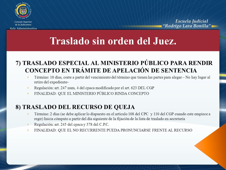 7) TRASLADO ESPECIAL AL MINISTERIO PÚBLICO PARA RENDIR CONCEPTO EN TRÁMITE DE APELACIÓN DE SENTENCIA Término: 10 días, corre a partir del vencimiento