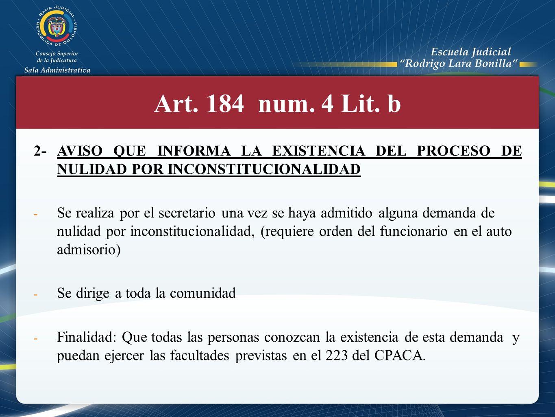 Modo de Publicación (Art.184 num. 1 Lit.