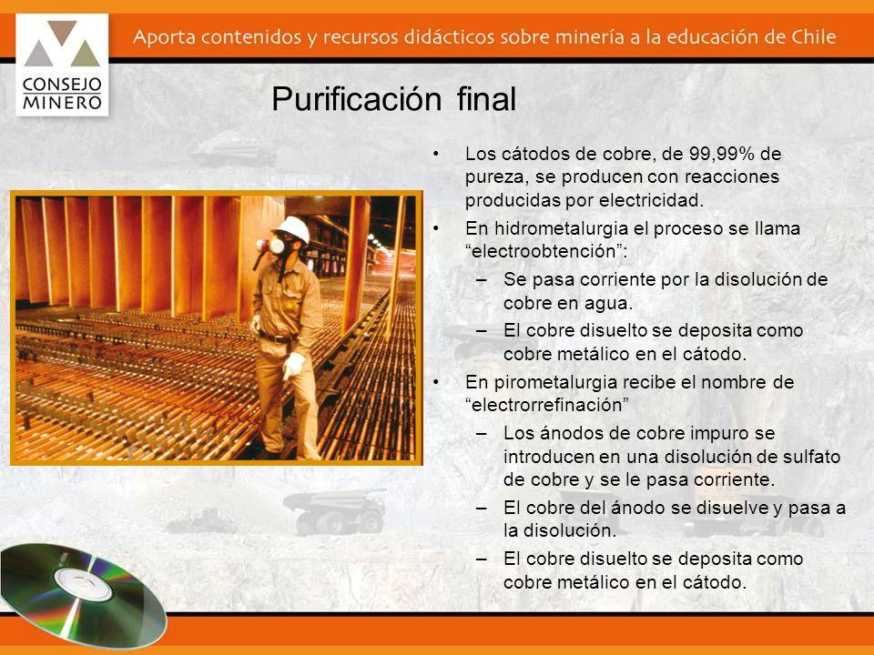 Purificación final Los cátodos de cobre, de 99,99% de pureza, se producen con reacciones producidas por electricidad. En hidrometalurgia el proceso se