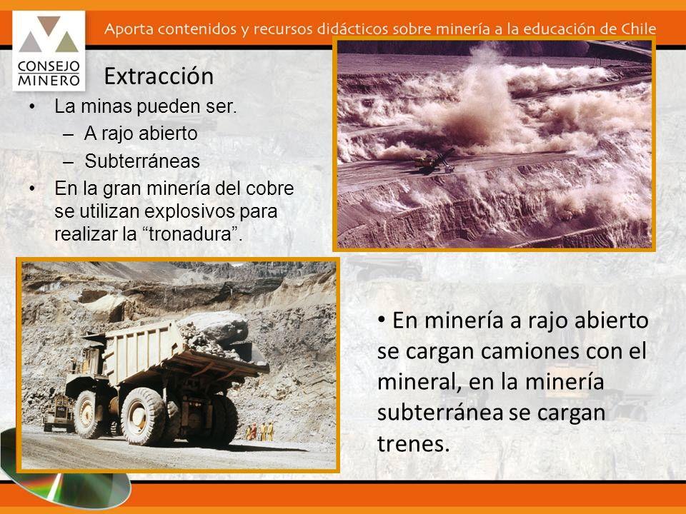 Extracción La minas pueden ser. –A rajo abierto –Subterráneas En la gran minería del cobre se utilizan explosivos para realizar la tronadura. En miner
