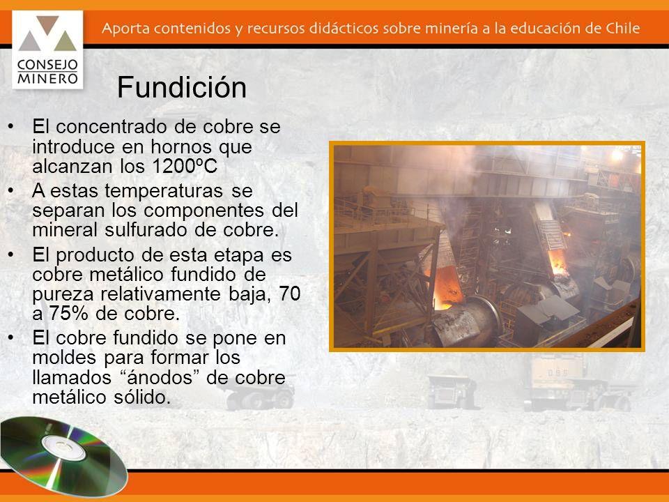 El concentrado de cobre se introduce en hornos que alcanzan los 1200ºC A estas temperaturas se separan los componentes del mineral sulfurado de cobre.