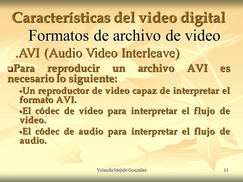Yolanda Mejido González 11 Características del video digital 2 Formatos de archivo de video Para reproducir un archivo AVI es necesario lo siguiente: