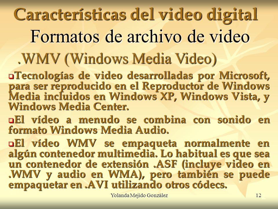 Yolanda Mejido González 12 Características del video digital 2 Formatos de archivo de video Tecnologías de video desarrolladas por Microsoft, para ser