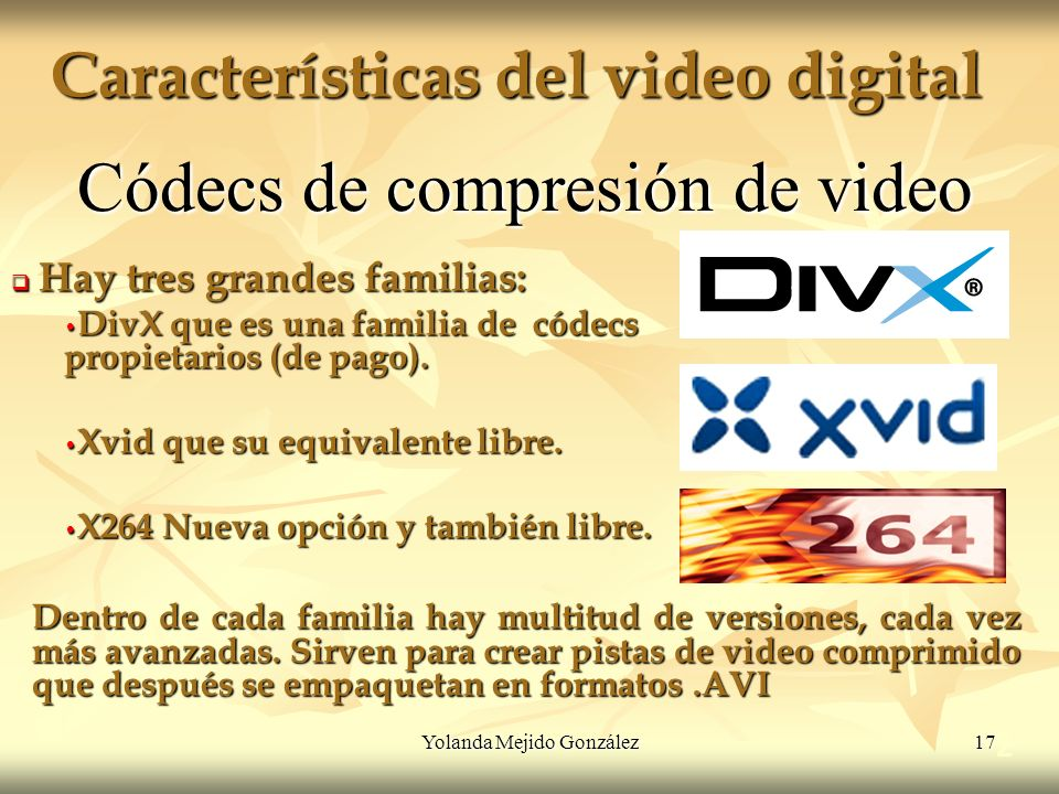 Yolanda Mejido González 17 Características del video digital 2 Códecs de compresión de video Hay tres grandes familias: Hay tres grandes familias: Div