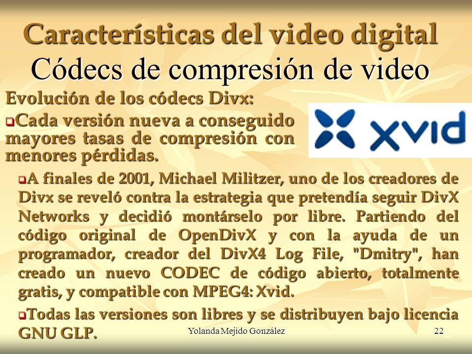 Yolanda Mejido González 22 Características del video digital 2 Códecs de compresión de video Evolución de los códecs Divx: Cada versión nueva a conseg