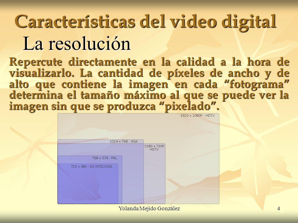 Yolanda Mejido González 4 Características del video digital 2 La resolución Repercute directamente en la calidad a la hora de visualizarlo. La cantida