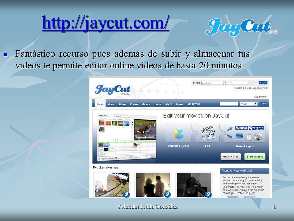 Yolanda Mejido González8 Fantástico recurso pues además de subir y almacenar tus videos te permite editar online vídeos de hasta 20 minutos.