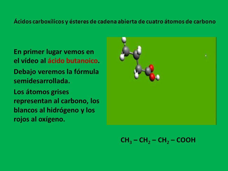 Ácidos carboxílicos y ésteres de cadena abierta de cuatro átomos de carbono En primer lugar vemos en el vídeo al ácido butanoico.