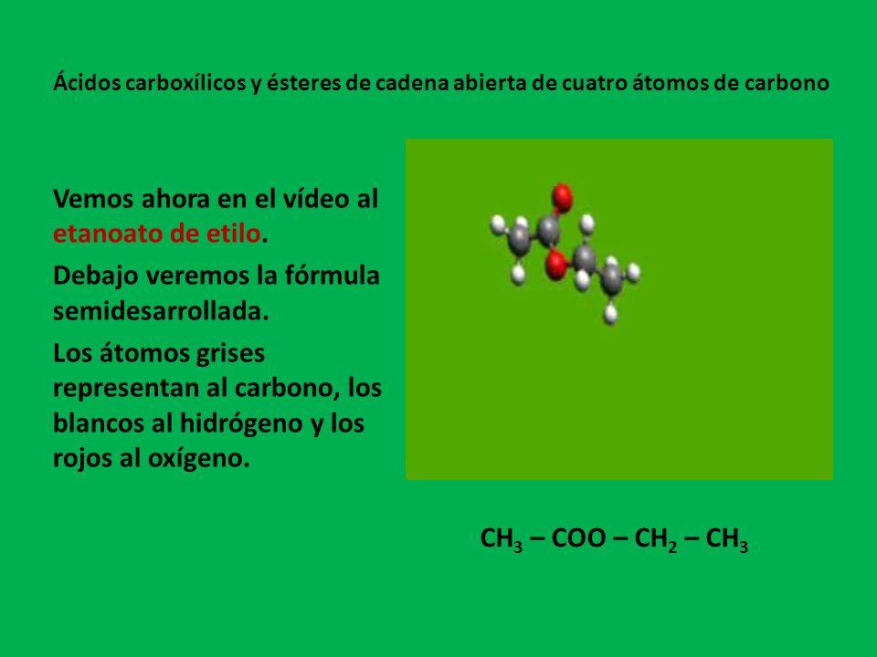 Vemos ahora en el vídeo al metanoato de propilo.Debajo veremos la fórmula semidesarrollada.