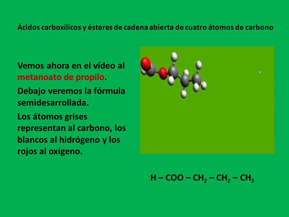 Vemos ahora en el vídeo al metanoato de isopropilo.