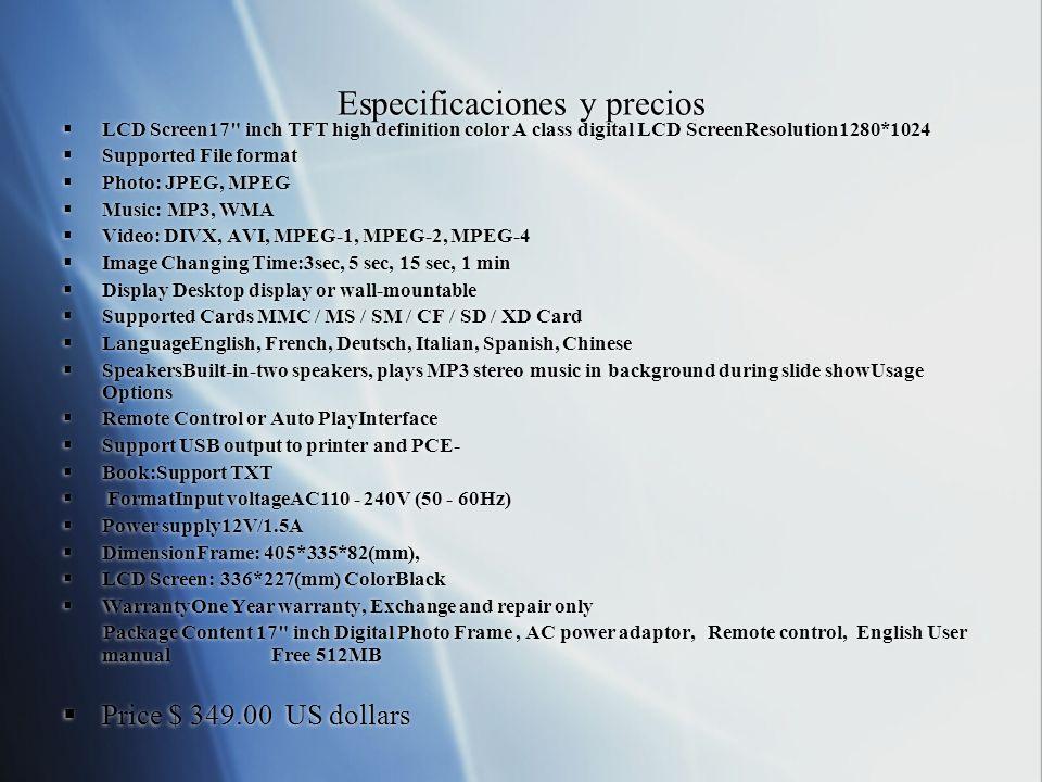 Especificaciones y precios LCD Screen17