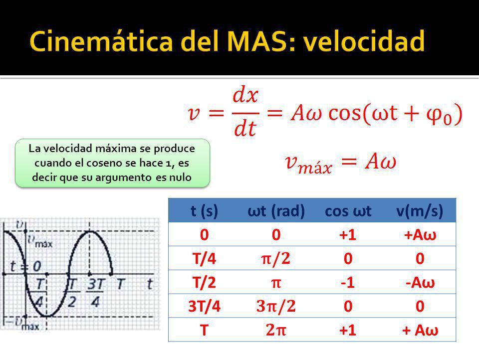 t (s) ω t (rad) cos ω t v(m/s) 00+1+A ω T/4 π /2 00 T/2 π -A ω 3T/4 3 π /2 00 T 2π2π +1+ A ω La velocidad máxima se produce cuando el coseno se hace 1