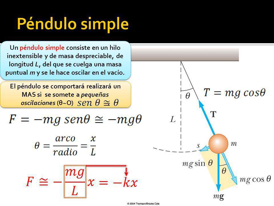 Un péndulo simple consiste en un hilo inextensible y de masa despreciable, de longitud L, del que se cuelga una masa puntual m y se le hace oscilar en