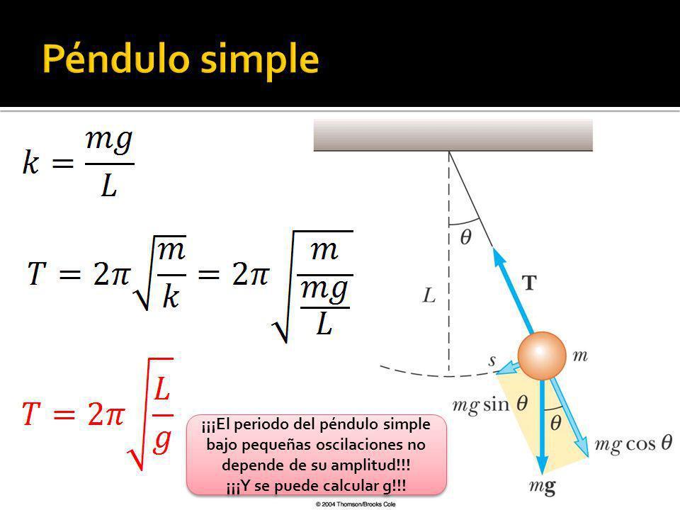¡¡¡El periodo del péndulo simple bajo pequeñas oscilaciones no depende de su amplitud!!! ¡¡¡Y se puede calcular g!!! ¡¡¡El periodo del péndulo simple