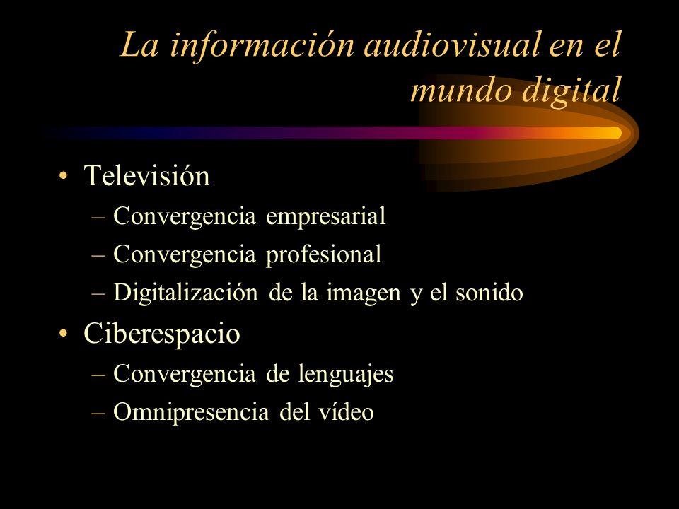 La información audiovisual en el mundo digital Televisión –Convergencia empresarial –Convergencia profesional –Digitalización de la imagen y el sonido Ciberespacio –Convergencia de lenguajes –Omnipresencia del vídeo