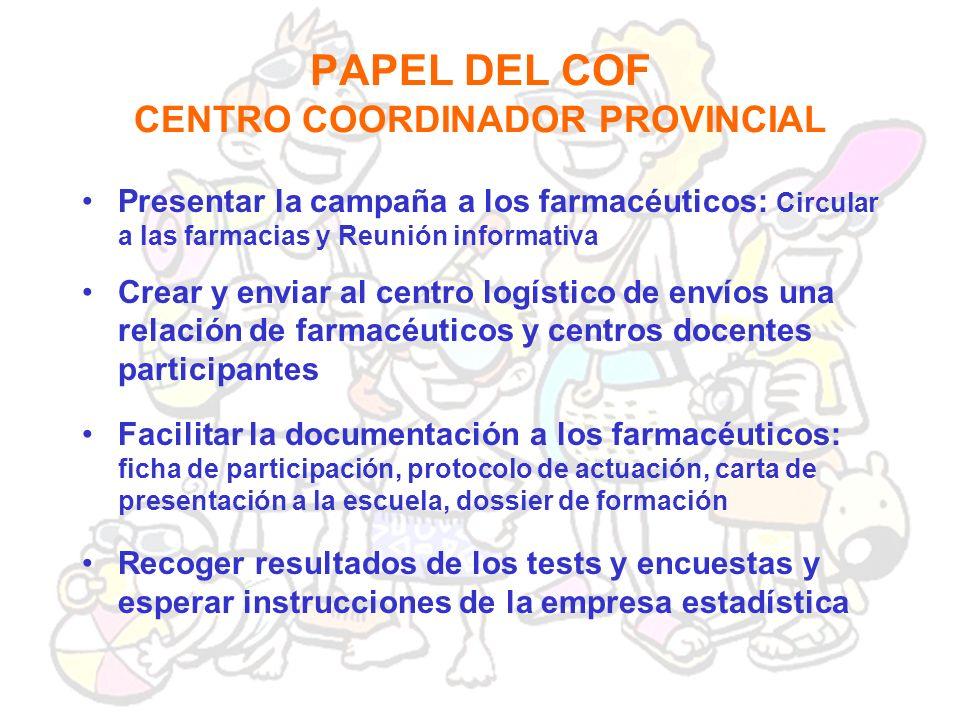 PAPEL DEL COF CENTRO COORDINADOR PROVINCIAL Crear y enviar al centro logístico de envíos una relación de farmacéuticos y centros docentes participante
