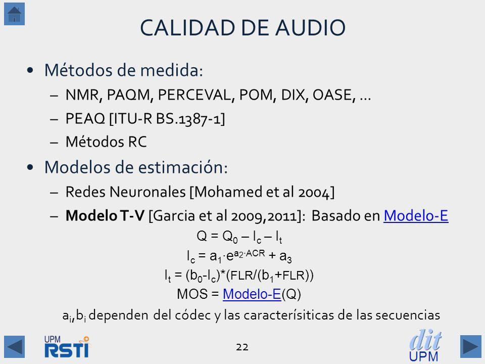 22 CALIDAD DE AUDIO Métodos de medida: –NMR, PAQM, PERCEVAL, POM, DIX, OASE,...