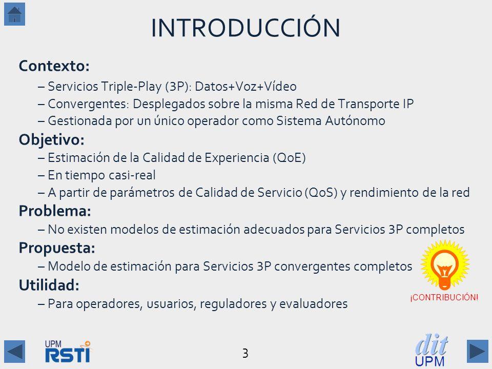 3 INTRODUCCIÓN Contexto: –Servicios Triple-Play ( 3 P): Datos+Voz+Vídeo –Convergentes: Desplegados sobre la misma Red de Transporte IP –Gestionada por un único operador como Sistema Autónomo Objetivo: –Estimación de la Calidad de Experiencia (QoE) –En tiempo casi-real –A partir de parámetros de Calidad de Servicio (QoS) y rendimiento de la red Problema: –No existen modelos de estimación adecuados para Servicios 3 P completos Propuesta: –Modelo de estimación para Servicios 3 P convergentes completos Utilidad: –Para operadores, usuarios, reguladores y evaluadores ¡CONTRIBUCIÓN!