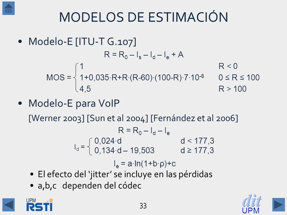 33 MODELOS DE ESTIMACIÓN Modelo-E[ITU-T G.107] R = R 0 – I s – I d – I e + A 1R < 0 MOS = 1+0,035R+R(R-60)(100-R)710 -6 0 R 100 4,5R > 100 Modelo-E para VoIP [Werner 2003] [Sun et al 2004] [Fernández et al 2006] R = R 0 – I d – I e 0,024dd < 177,3 0,134d – 19,503d 177,3 I e = aln(1+bρ)+c El efecto del jitter se incluye en las pérdidas a,b,c dependen del códec I d =