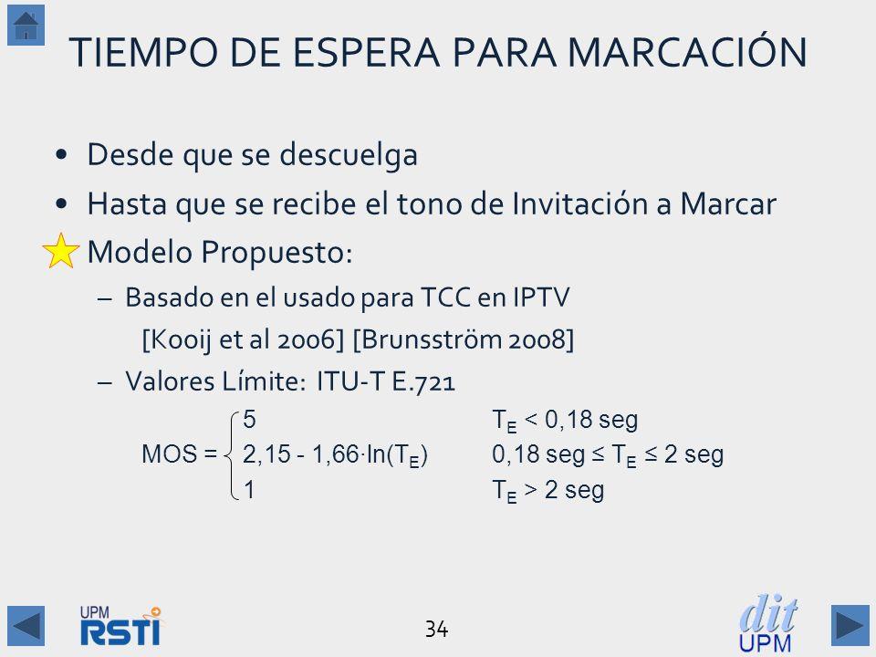 34 TIEMPO DE ESPERA PARA MARCACIÓN Desde que se descuelga Hasta que se recibe el tono de Invitación a Marcar Modelo Propuesto: –Basado en el usado para TCC en IPTV [Kooij et al 2006] [Brunsström 2008] –Valores Límite:ITU-T E.721 5T E < 0,18 seg MOS = 2,15 - 1,66ln(T E )0,18 seg T E 2 seg 1T E > 2 seg