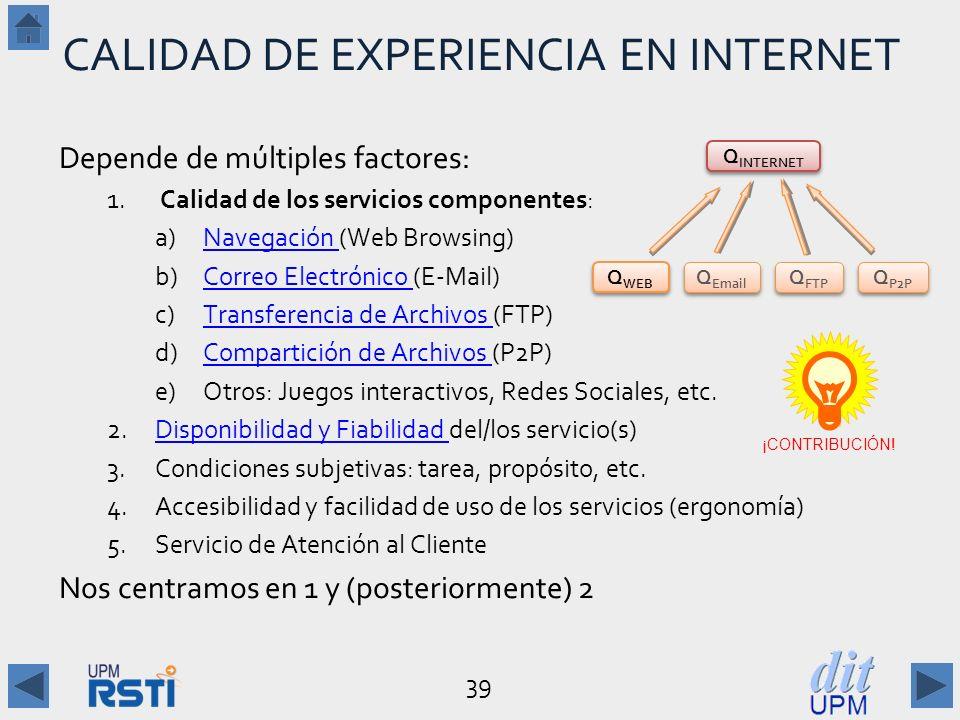 39 CALIDAD DE EXPERIENCIA EN INTERNET Depende de múltiples factores: 1.