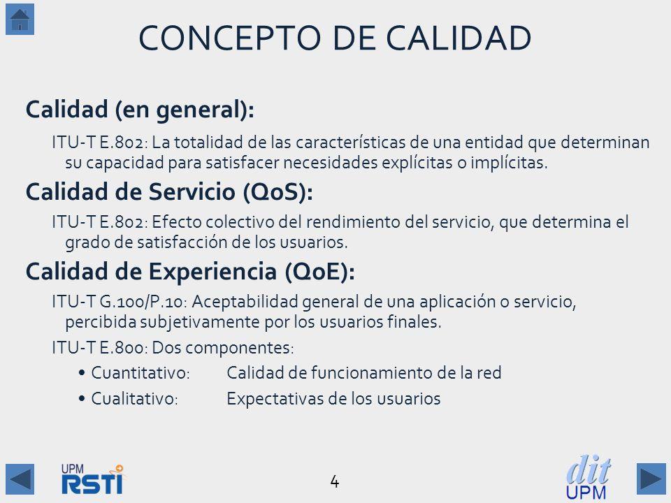 4 CONCEPTO DE CALIDAD Calidad (en general): ITU-T E.802: La totalidad de las características de una entidad que determinan su capacidad para satisfacer necesidades explícitas o implícitas.