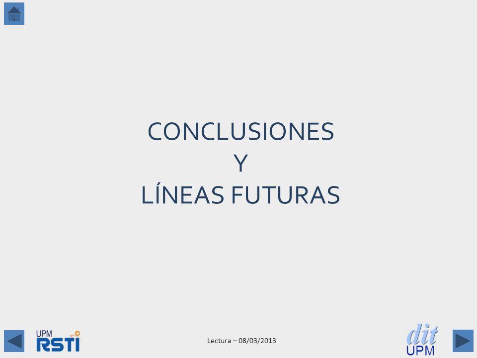 Lectura – 08/03/2013 CONCLUSIONES Y LÍNEAS FUTURAS