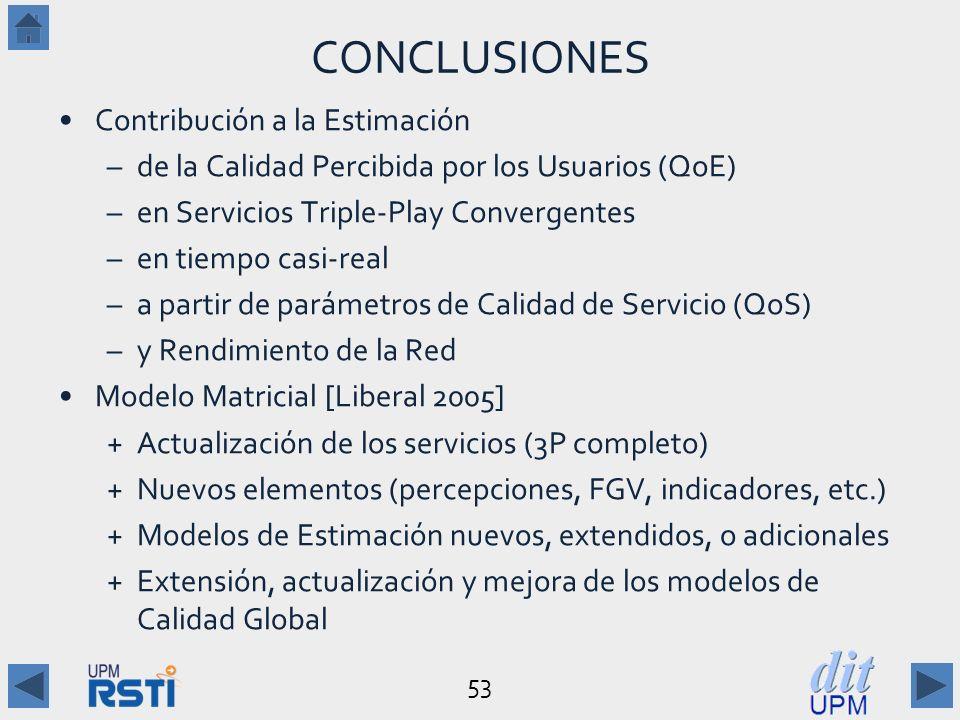 53 CONCLUSIONES Contribución a la Estimación –de la Calidad Percibida por los Usuarios (QoE) –en Servicios Triple-Play Convergentes –en tiempo casi-real –a partir de parámetros de Calidad de Servicio (QoS) –y Rendimiento de la Red Modelo Matricial [Liberal 2005] +Actualización de los servicios (3P completo) +Nuevos elementos (percepciones, FGV, indicadores, etc.) +Modelos de Estimación nuevos, extendidos, o adicionales +Extensión, actualización y mejora de los modelos de Calidad Global
