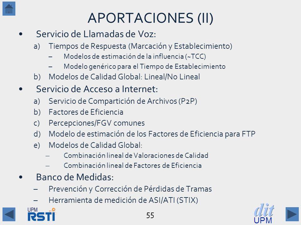 55 APORTACIONES (II) Servicio de Llamadas de Voz: a)Tiempos de Respuesta (Marcación y Establecimiento) –Modelos de estimación de la influencia (~TCC) –Modelo genérico para el Tiempo de Establecimiento b)Modelos de Calidad Global: Lineal/No Lineal Servicio de Acceso a Internet: a)Servicio de Compartición de Archivos (P2P) b)Factores de Eficiencia c)Percepciones/FGV comunes d)Modelo de estimación de los Factores de Eficiencia para FTP e)Modelos de Calidad Global: ̶ Combinación lineal de Valoraciones de Calidad ̶ Combinación lineal de Factores de Eficiencia Banco de Medidas: –Prevención y Corrección de Pérdidas de Tramas –Herramienta de medición de ASI/ATI (STIX)