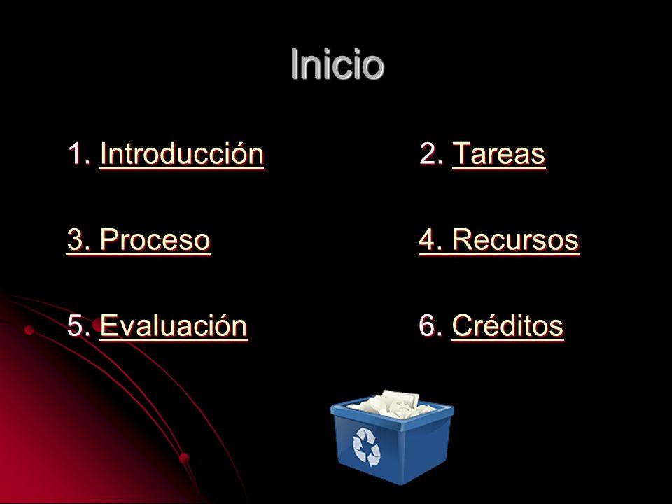 1. Introducción 2. Tareas IntroducciónTareasIntroducciónTareas 3. Proceso3. Proceso 4. Recursos 4. Recursos 3. Proceso4. Recursos 5. Evaluación 6. Cré