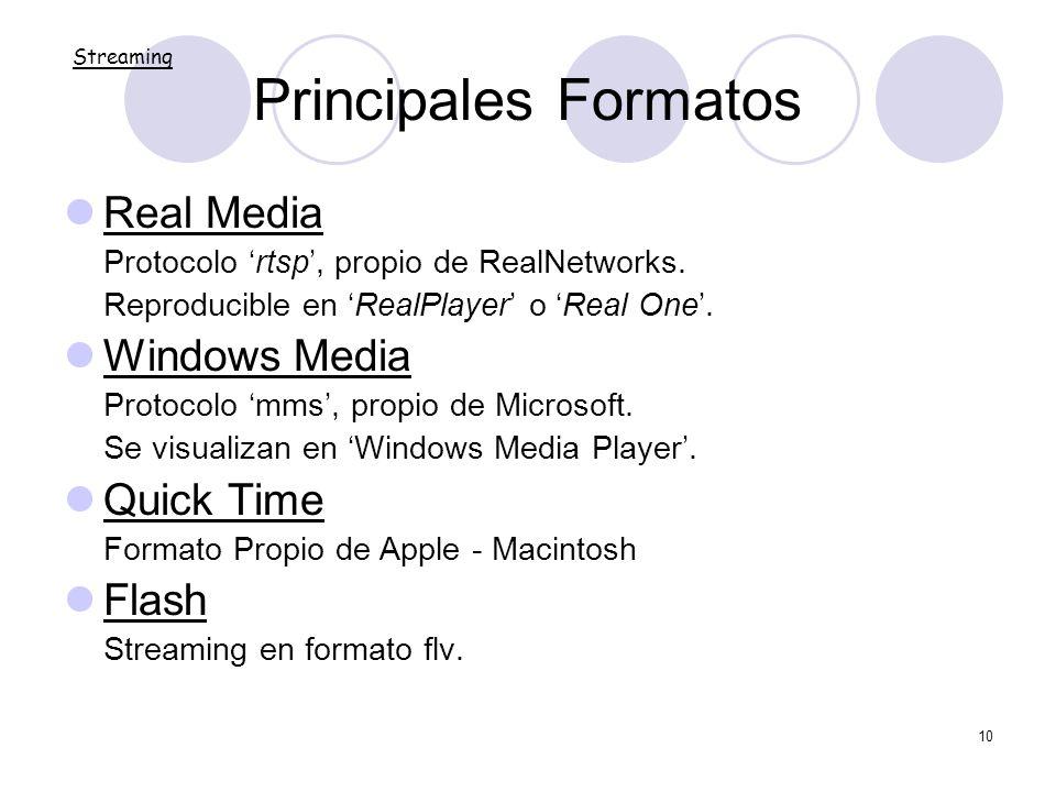 10 Principales Formatos Real Media Protocolo rtsp, propio de RealNetworks. Reproducible en RealPlayer o Real One. Windows Media Protocolo mms, propio