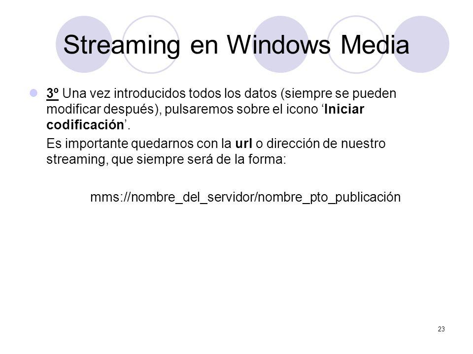 23 Streaming en Windows Media 3º Una vez introducidos todos los datos (siempre se pueden modificar después), pulsaremos sobre el icono Iniciar codific