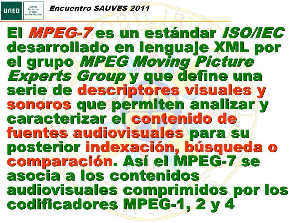 El MPEG-7 es un estándar ISO/IEC desarrollado en lenguaje XML por el grupo MPEG Moving Picture Experts Group y que define una serie de descriptores vi