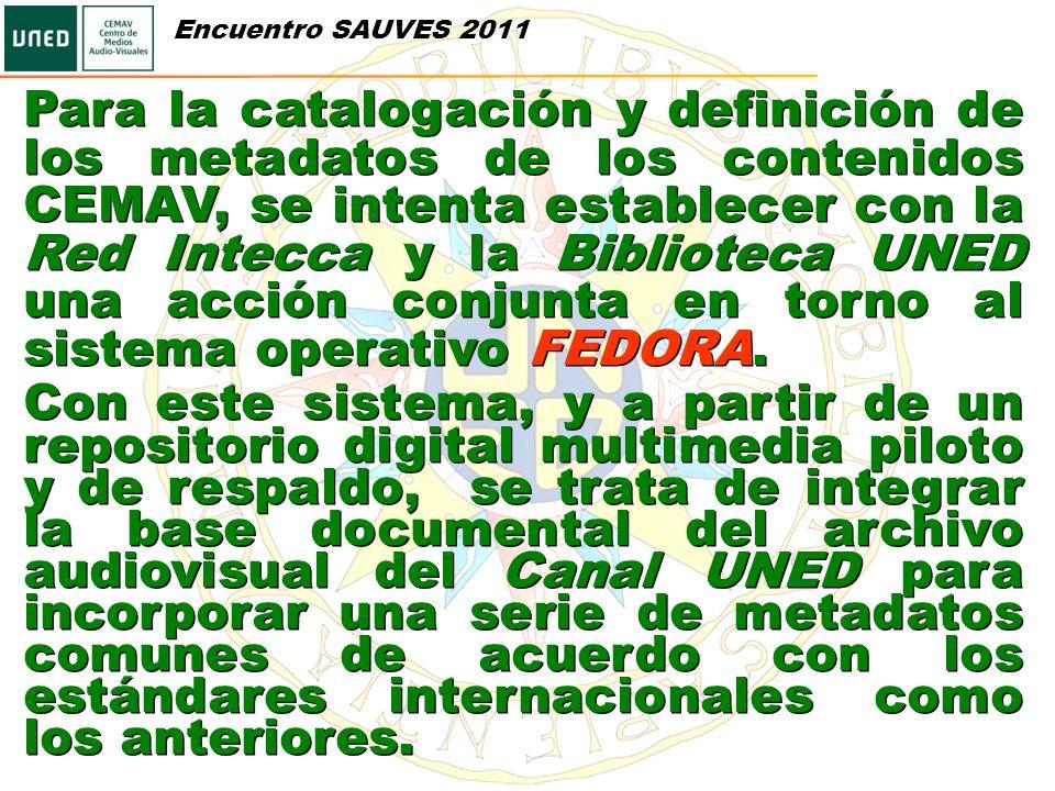 Para la catalogación y definición de los metadatos de los contenidos CEMAV, se intenta establecer con la Red Intecca y la Biblioteca UNED una acción c