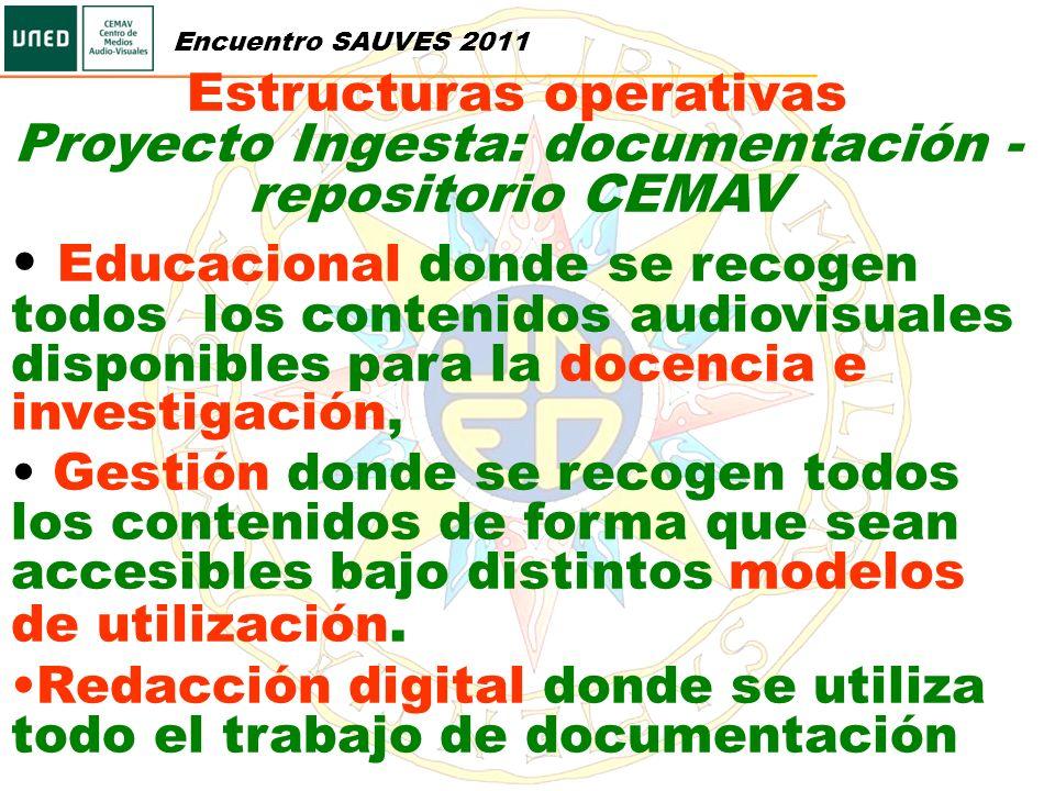 Estructuras operativas Proyecto Ingesta: documentación - repositorio CEMAV Educacional donde se recogen todos los contenidos audiovisuales disponibles