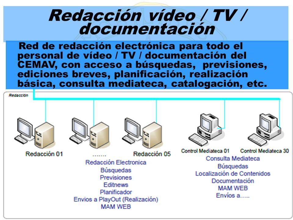 Red de redacción electrónica para todo el personal de vídeo / TV / documentación del CEMAV, con acceso a búsquedas, previsiones, ediciones breves, pla