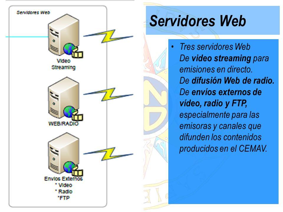 Servidores Web Tres servidores Web De video streaming para emisiones en directo. De difusión Web de radio. De envíos externos de vídeo, radio y FTP, e