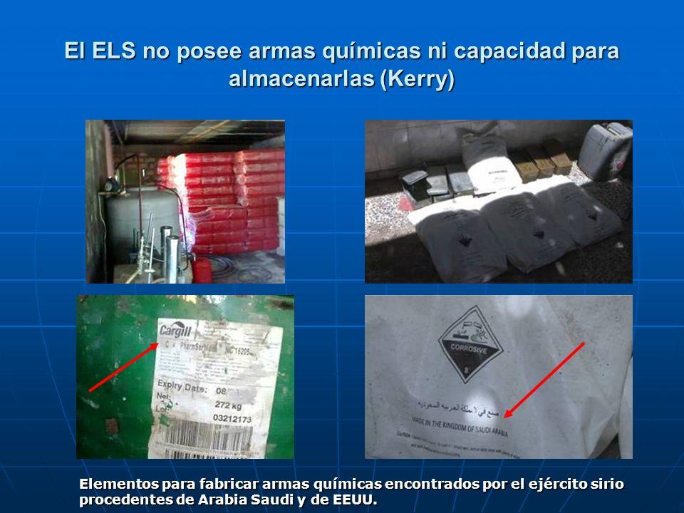 El ELS no posee armas químicas ni capacidad para almacenarlas (Kerry) Elementos para fabricar armas químicas encontrados por el ejército sirio procede